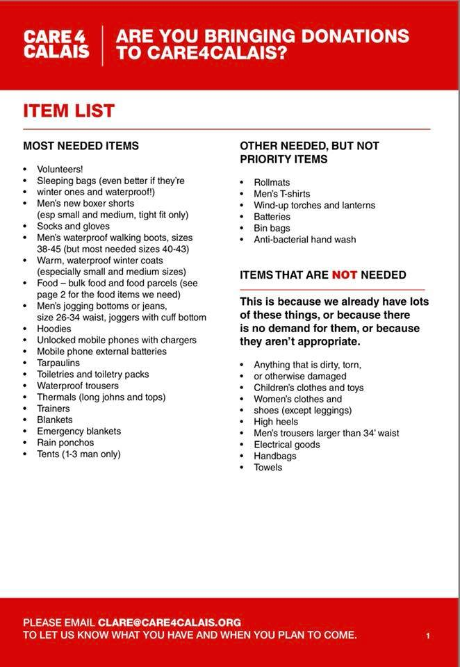 Updated needs list of donations