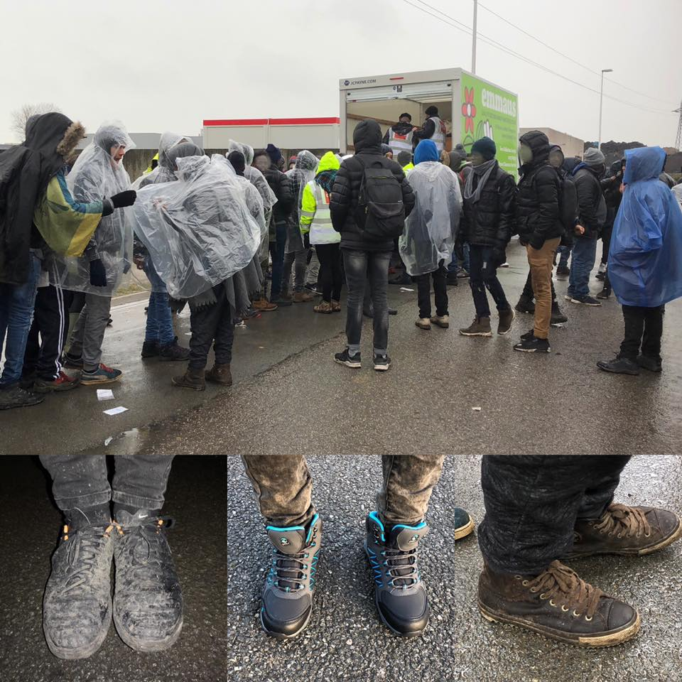 We have been able to distribute over 200 pairs of waterproof walking boots and shoes to refugees in Calais