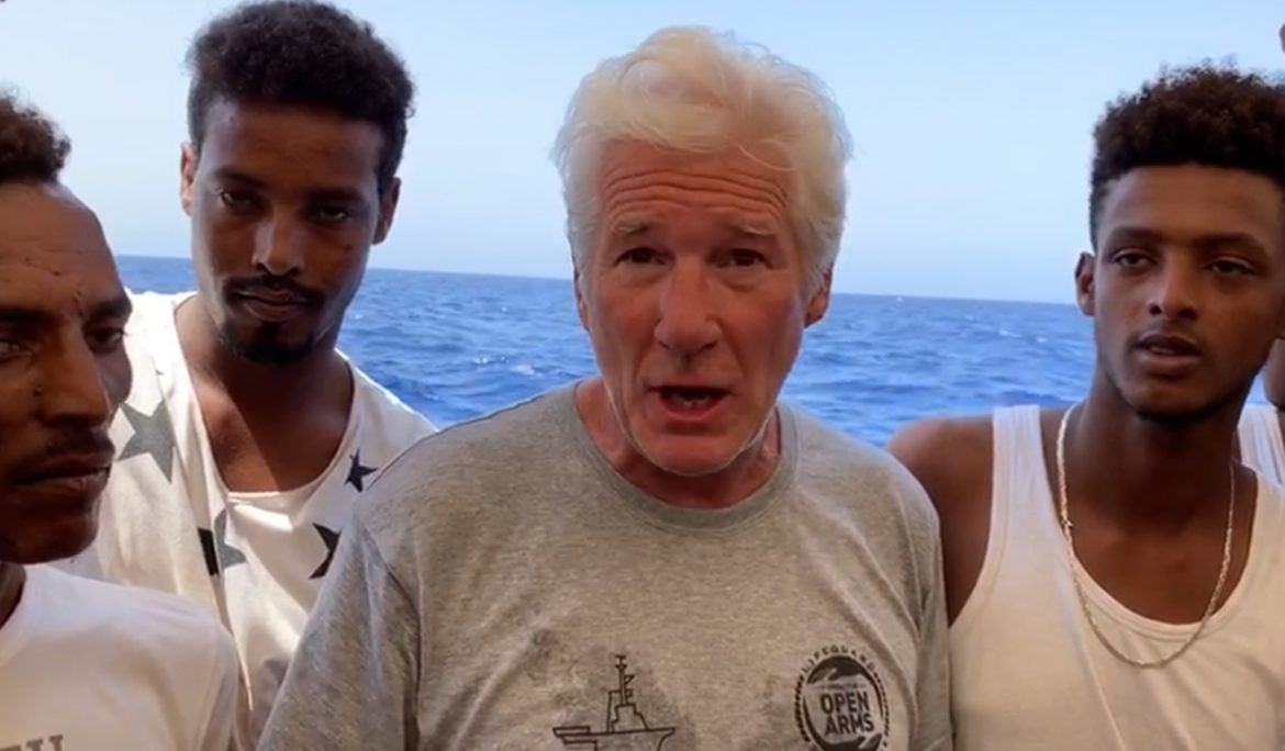 Richard Gere showing solidarity with refugees in the Mediterranean