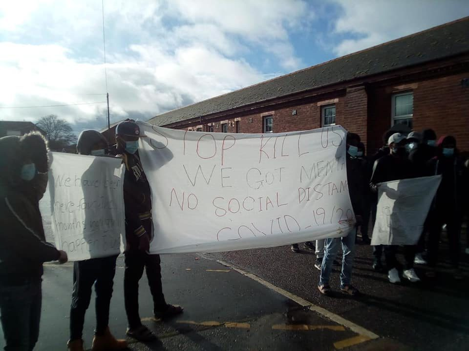 Napier Barracks residents protesting against poor living conditions