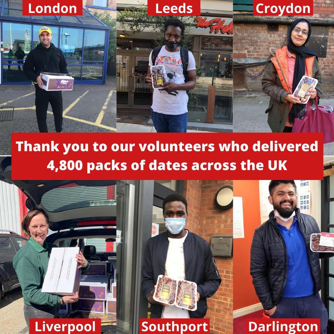 Volunteers deliver 2000kg of dates to asylum seekers for Ramadan